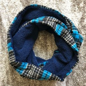Blue Plaid Fleece Lined Infinity Scarf